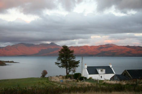 Skye White House - view from bedroom window over the red Skye and autumn dusk across the Sound of Sleat - luxury holiday cottage with cosy woodburner perfect for honeymoons and anniversaries